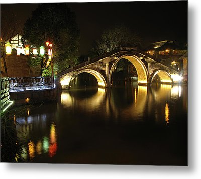Bridge In Chinese Water Town Metal Print by Andrew Soundarajan