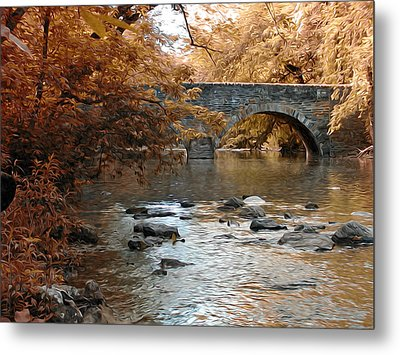 Bridge Over The Wissahickon At Valley Green Metal Print by Bill Cannon