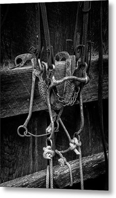 Bridle And Barn In Black And White Metal Print