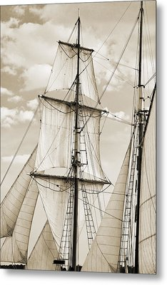 Brigantine Tallship Fritha Sails And Rigging Metal Print by Dustin K Ryan