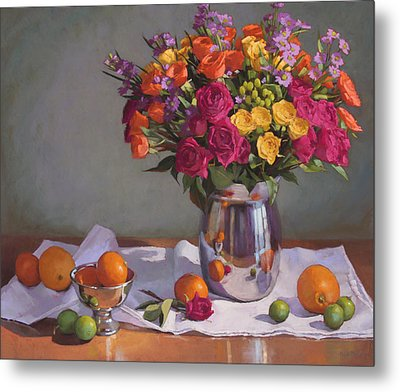 Bright Colors On A White Cloth Metal Print by Sarah Blumenschein