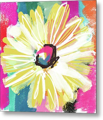 Bright Yellow Flower- Art By Linda Woods Metal Print