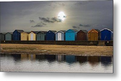 Brightlingsea Beach Huts Metal Print by Martin Newman