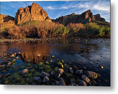 Metal Print featuring the photograph Brilliant Salt River Colors At Sunset by Dave Dilli