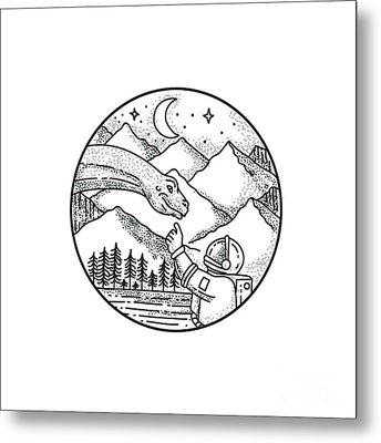 Brontosaurus Astronaut Mountain Circle Tattoo Metal Print by Aloysius Patrimonio