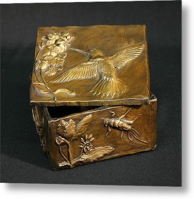 Metal Print featuring the sculpture Bronze Hummingbird Box by Dawn Senior-Trask