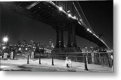 Brooklyn And Manhattan Bridges Metal Print