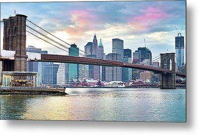 Brooklyn Bridge Restoration Metal Print by Ryan D. Budhu