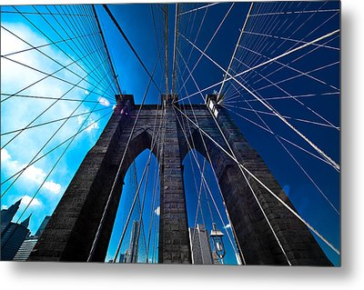Brooklyn Bridge Vertical Metal Print by Thomas Splietker