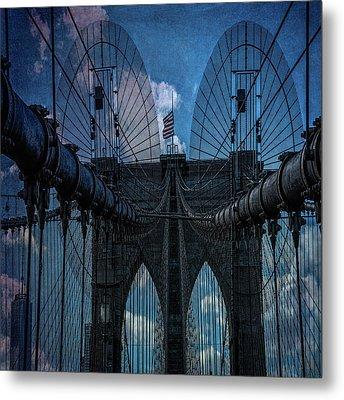 Brooklyn Bridge Webs Metal Print