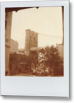Brooklyn Bridge With Ip Px100 Film Metal Print