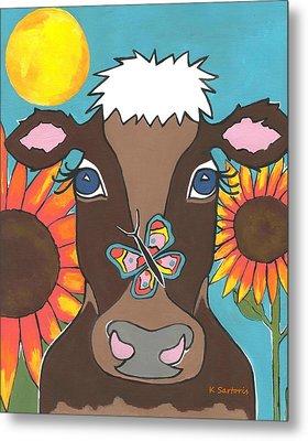 Brown Cow Metal Print