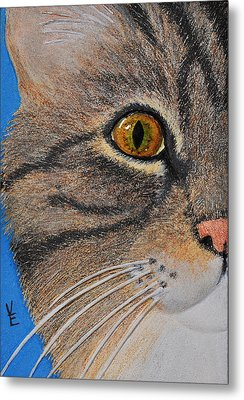 Brown Tabby Cat Sculpture Metal Print by Valerie  Evanson