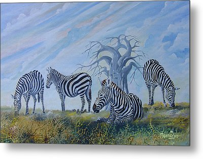 Metal Print featuring the painting Browsing Zebras by Anthony Mwangi
