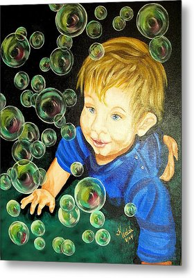 Bubble Baby Metal Print