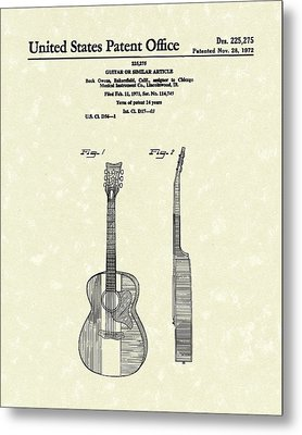 Buck Owens Guitar 1972 Patent Art  Metal Print by Prior Art Design