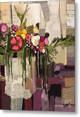 Metal Print featuring the painting Bucket Of Flowers by Carrie Joy Byrnes