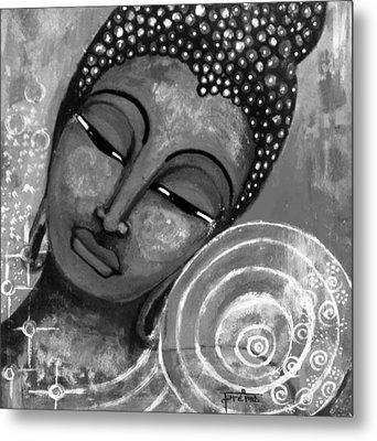 Buddha In Grey Tones Metal Print by Prerna Poojara