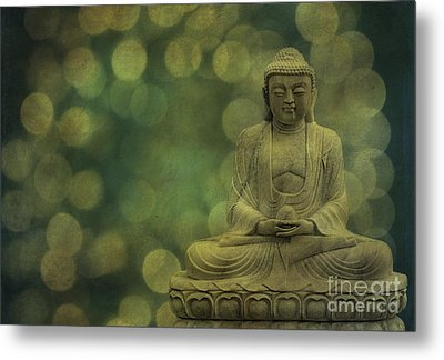 Buddha Light Gold Metal Print by Hannes Cmarits