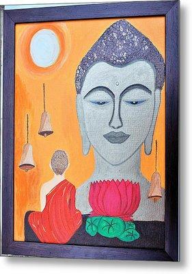 Buddha N Little Monk Metal Print by Shweta Singh