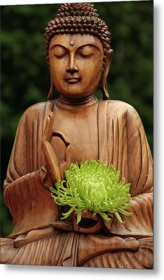 Metal Print featuring the photograph Buddha Statue Holding Flower by Christine Amstutz