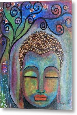Buddha With Tree Of Life Metal Print by Prerna Poojara