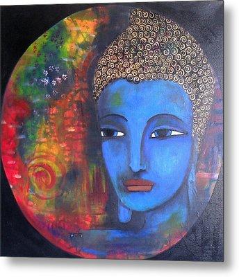 Buddha Within A Circular Background Metal Print by Prerna Poojara