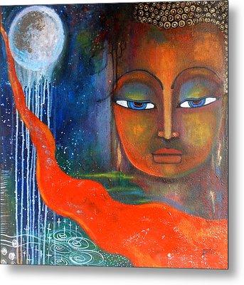 Buddhas Robe Reaching For The Moon Metal Print by Prerna Poojara