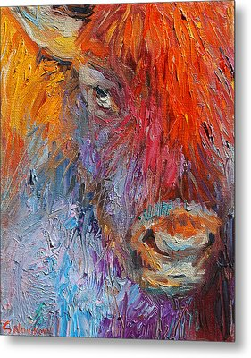 Buffalo Bison Wild Life Oil Painting Print Metal Print by Svetlana Novikova
