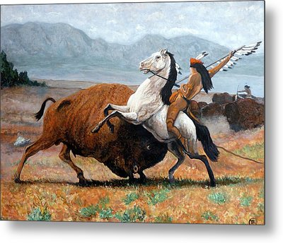 Buffalo Hunt Metal Print by Tom Roderick
