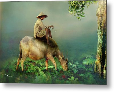 Metal Print featuring the photograph Buffalo In The Mist by Wallaroo Images