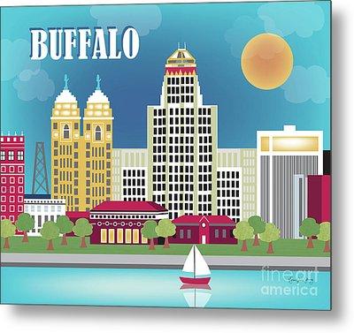 Buffalo New York Horizontal Skyline Metal Print