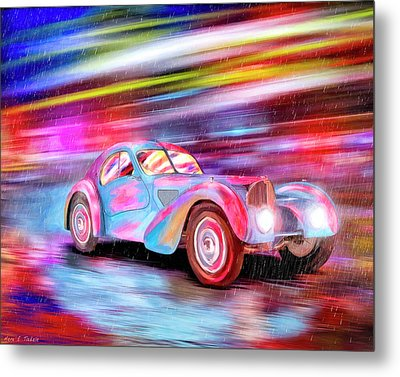 Bugatti In The Rain - Vintage Dreams Metal Print