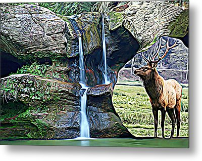 Bull Elk By A Waterfall Metal Print