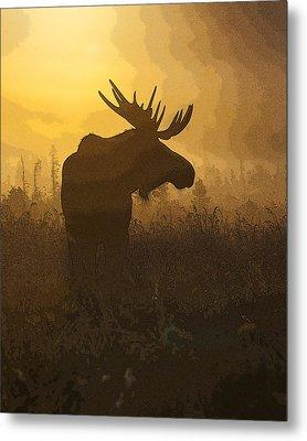 Bull Moose In Fog- Abstract Metal Print by Tim Grams