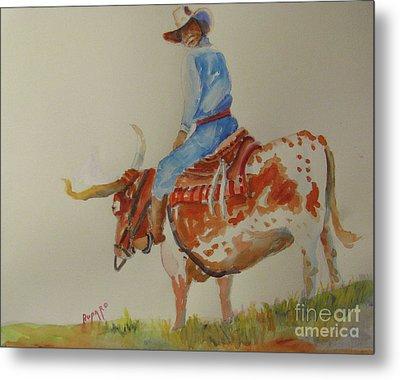 Bull Rider Metal Print by Linda Rupard