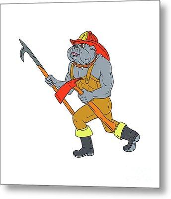 Bulldog Firefighter Pike Pole Fire Axe Drawing Metal Print by Aloysius Patrimonio