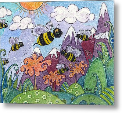 Bumble Bee Buzz Metal Print by Tanielle Childers
