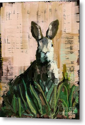 Metal Print featuring the mixed media Bunny by Carrie Joy Byrnes