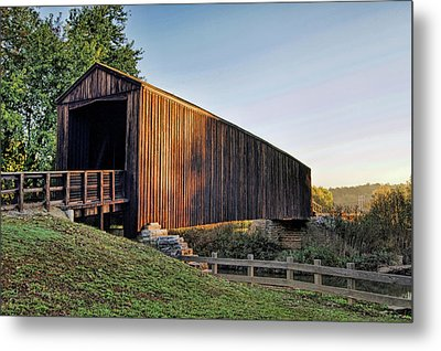 Metal Print featuring the photograph Burfordville Covered Bridge by Cricket Hackmann