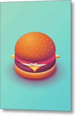 Burger Isometric - Plain Mint Metal Print