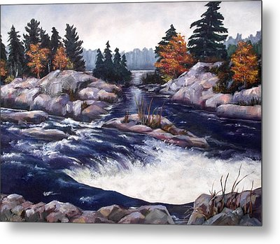 Metal Print featuring the painting Burleigh Falls by Diane Daigle