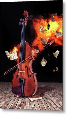 Burning With Music Metal Print