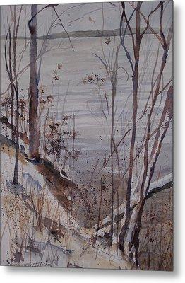 Metal Print featuring the painting Burt Lake In Winter by Sandra Strohschein