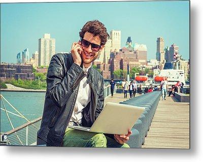Businessman Enjoying Working Outside Metal Print