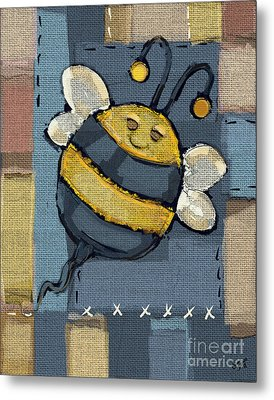 Metal Print featuring the mixed media Busy Bee by Carrie Joy Byrnes