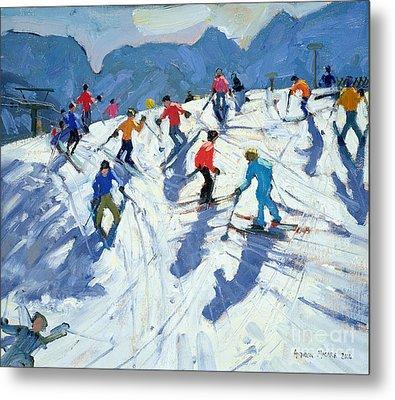Busy Ski Slope Metal Print by Andrew Macara