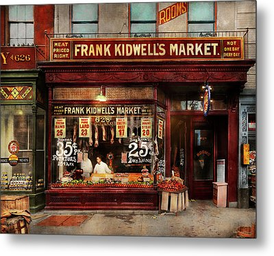 Butcher - Meat Priced Right 1916 Metal Print by Mike Savad
