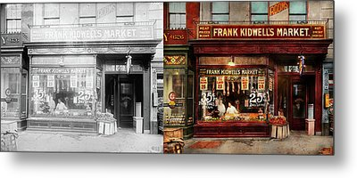 Butcher - Meat Priced Right 1916 - Side By Side Metal Print by Mike Savad