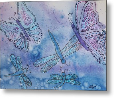 Metal Print featuring the painting Butterflies And Dragonflies by Ellen Levinson